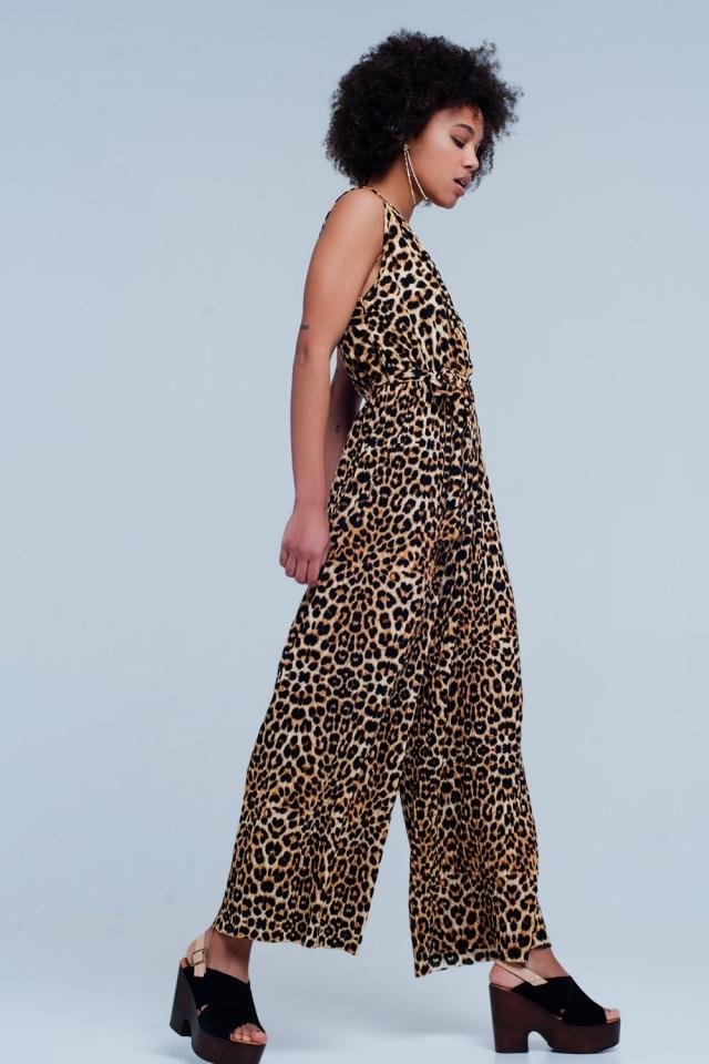 Macacão de impressão leopardo marrom