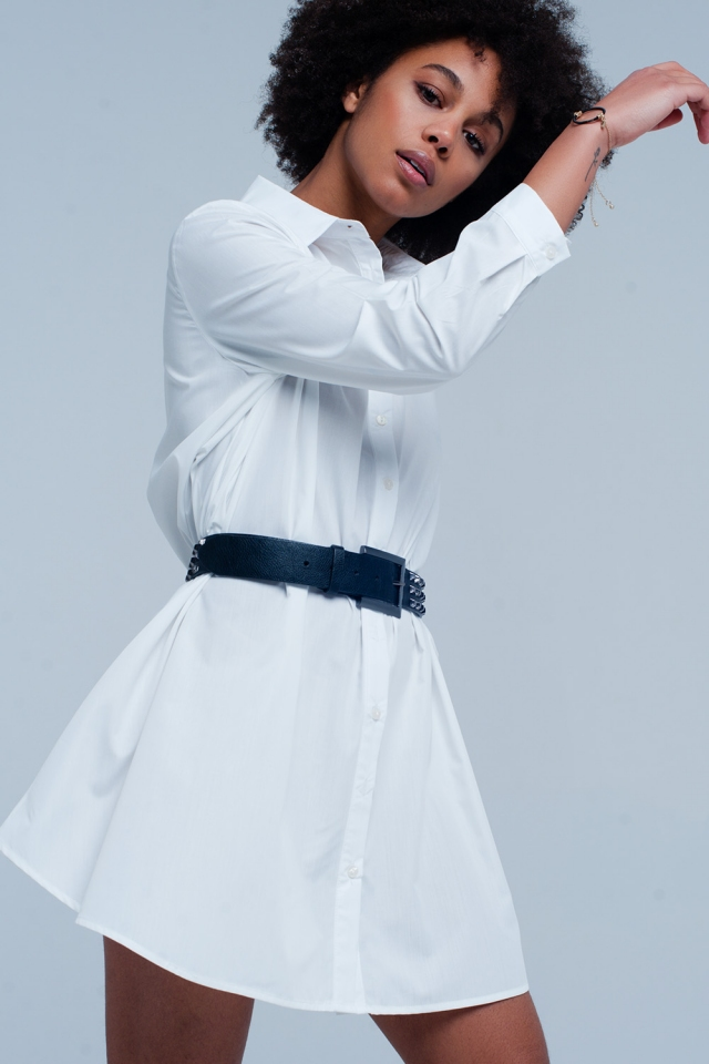 Vestido Camisa de popeline branco longo