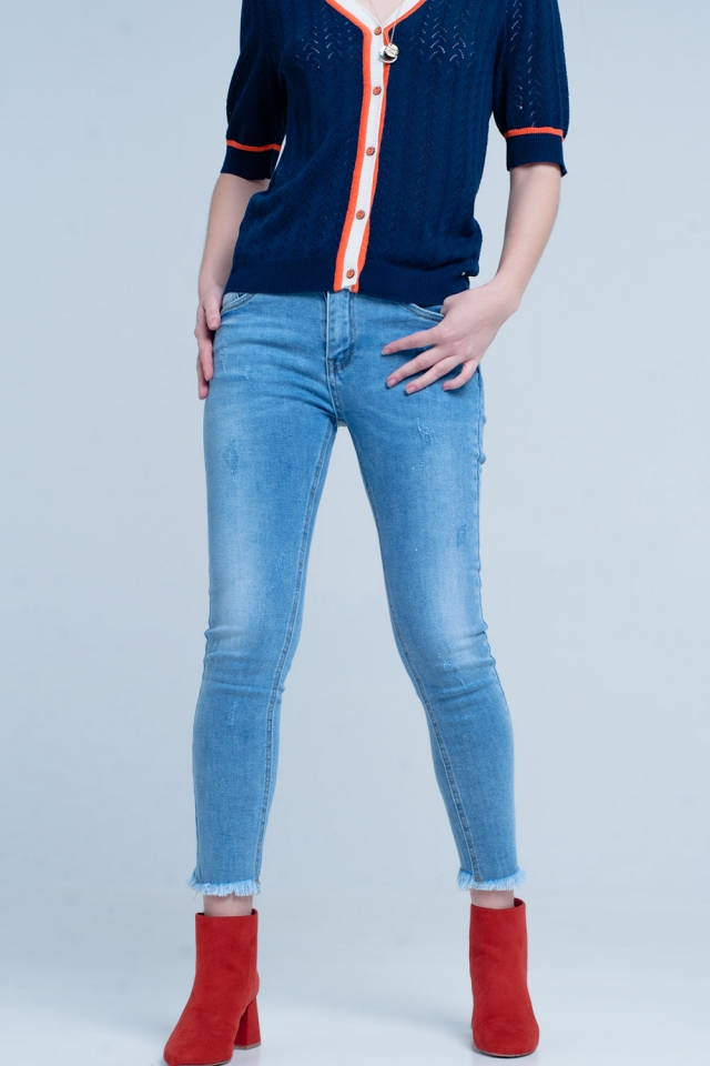 Calças de canga Skinny azul com franjas