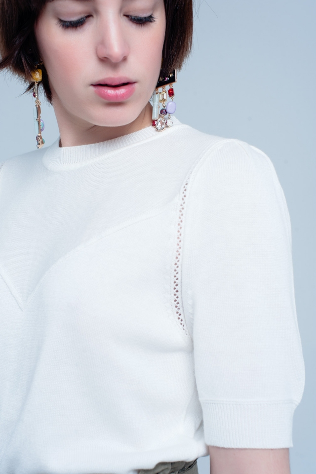 Cream Short Sleeve Sweater with Detailed Seams
