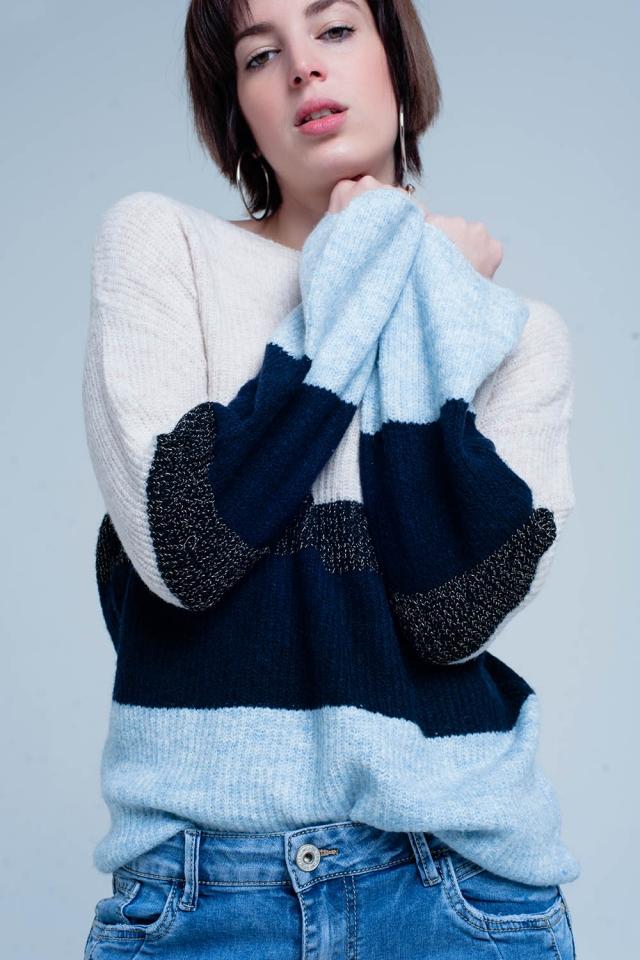 Camisola listrada azul com lurex