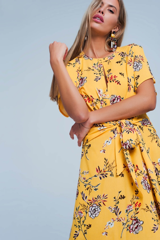 Yellow Floral Wrapped Midi Dress