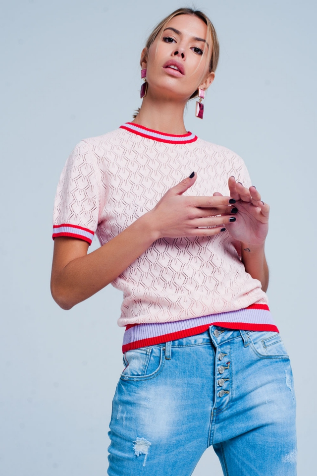 Camisola perfurada rosa padrão geométrico