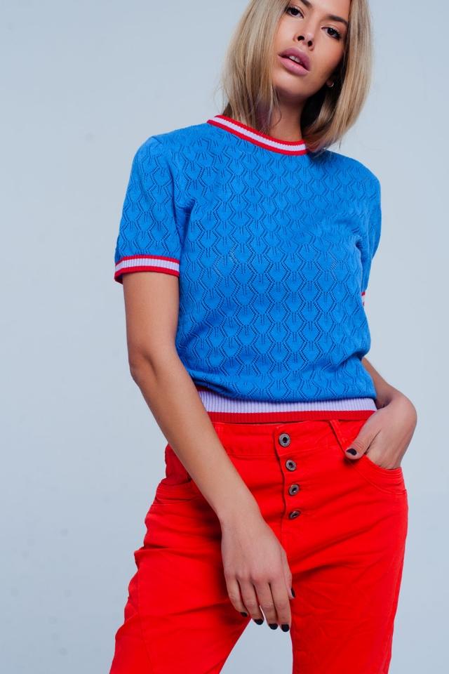 Camisola perfurada Cor azul padrão geométrico