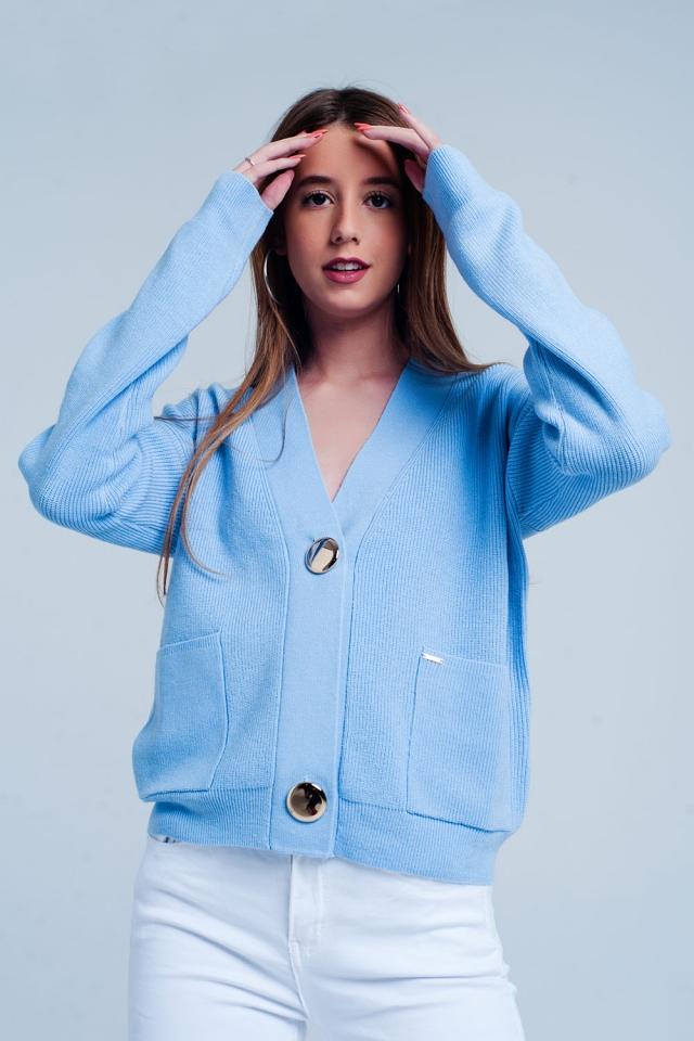 Cardigan com nervuras bem tricotado azul com botões