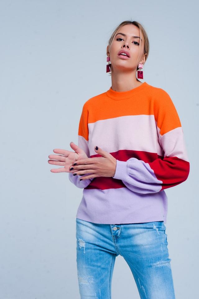 Suéter listrado em cores pop