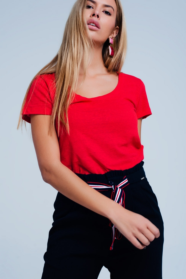 T-shirt Vermelho com decote largo