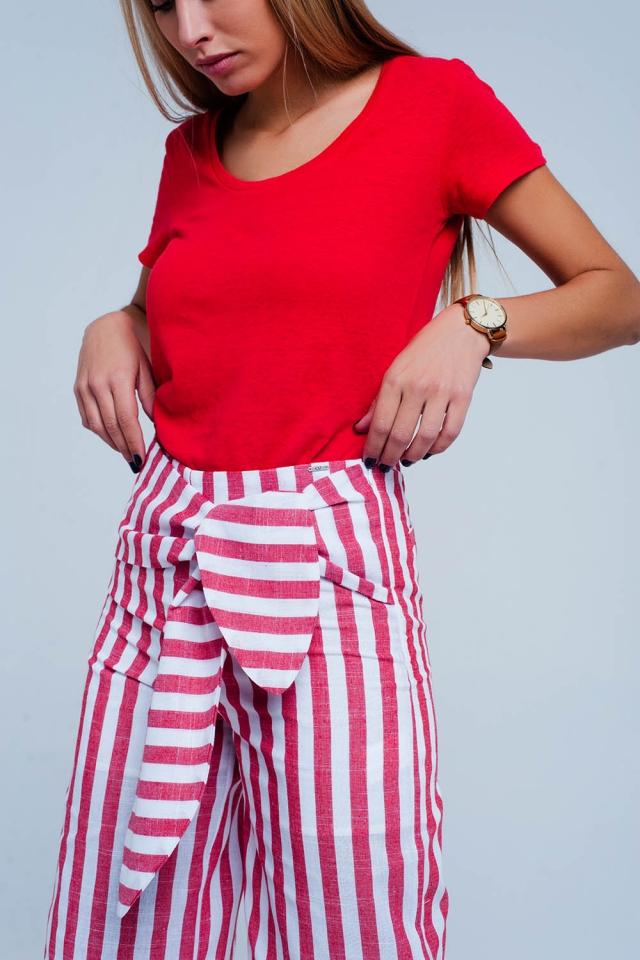 Calças listradas Vermelho com cinto cintura
