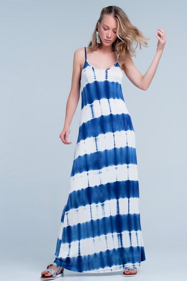 Vestido longo com desenho estampado tingido de azul