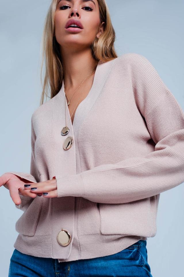 Cardigan com nervuras bem tricotado bege com botões