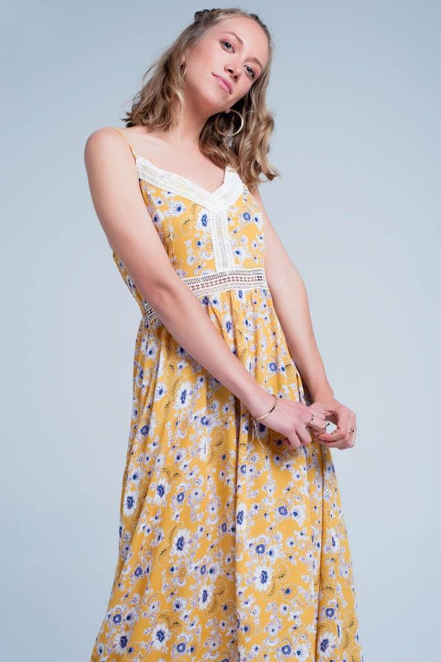 Vestido longo amarelo com suspensórios , estampa floral