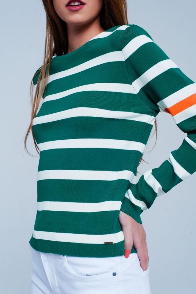 Camisola  verde listrada em colour block