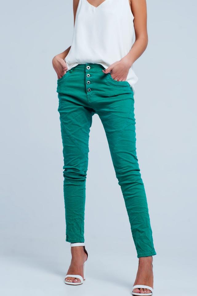 Calças de ganga Boyfriend original em cor Verde