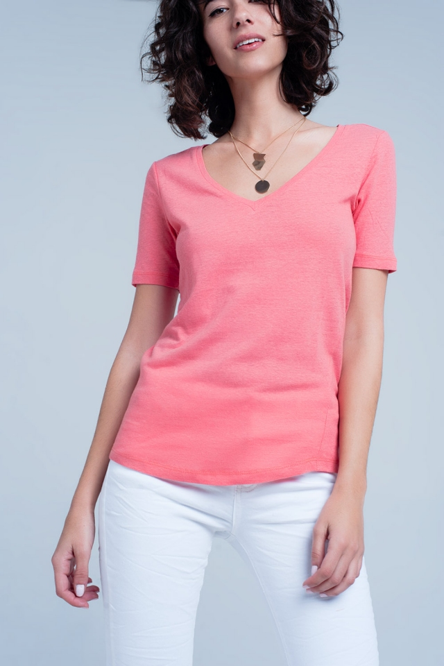 Coral t-shirt with v-neck