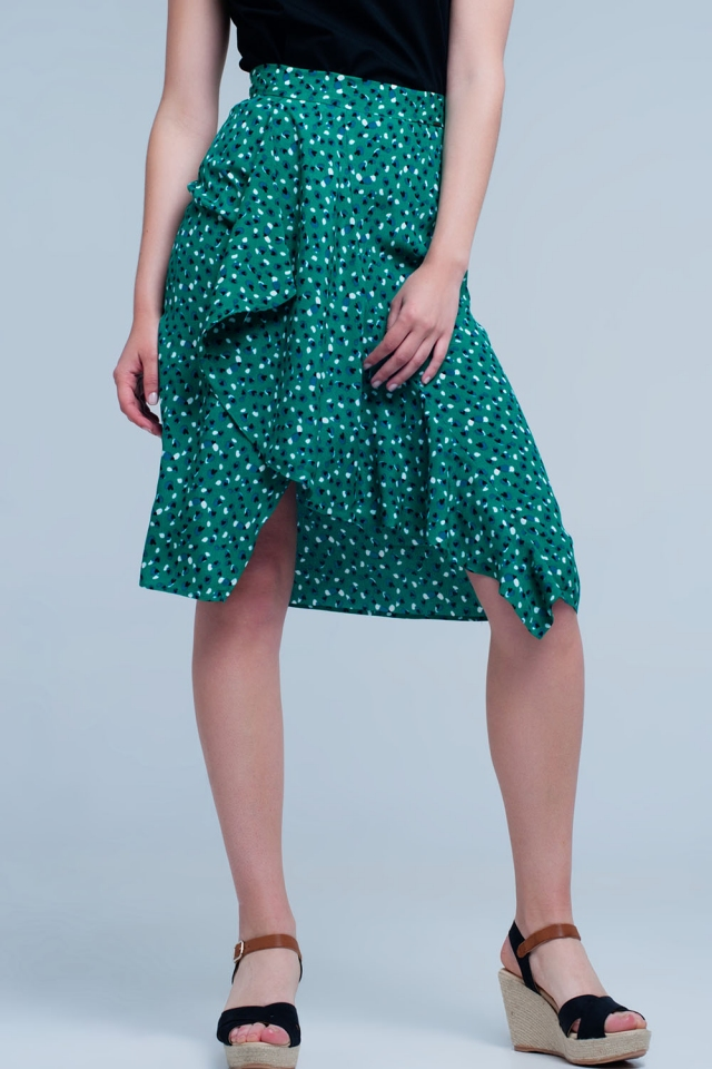 Green shorts with flower print