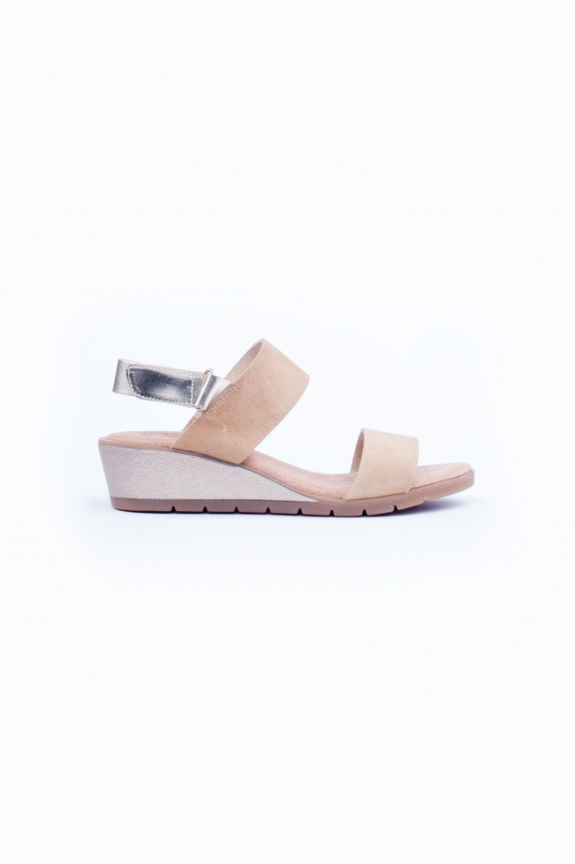 Light brown wide cut strap wedges