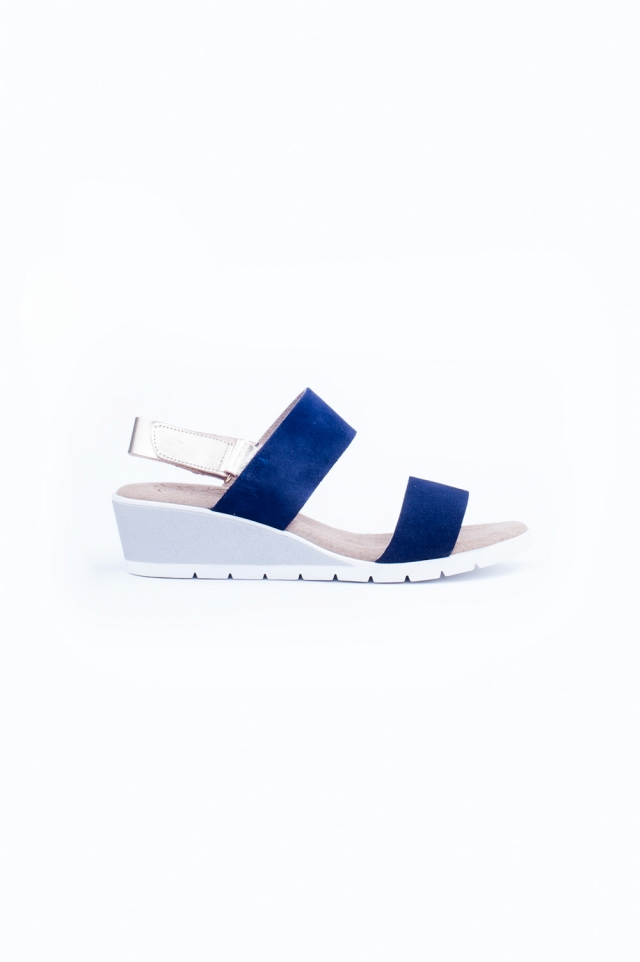 Blue wide cut strap wedges