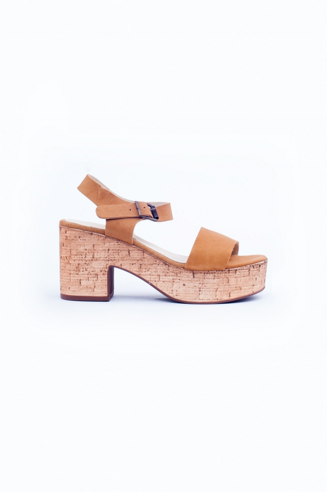 Light brown chunky heeled sandals