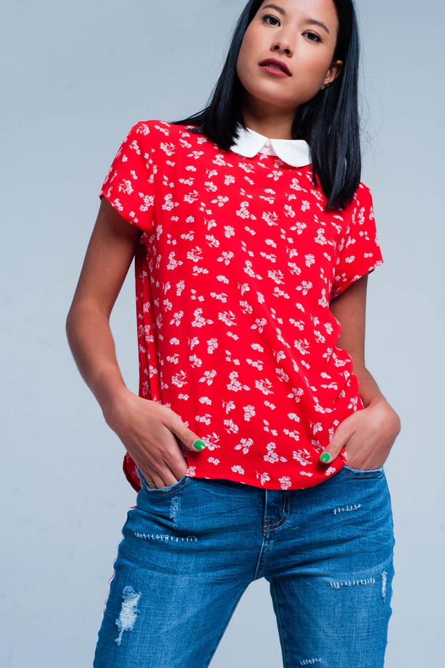 Red shirt with flower print