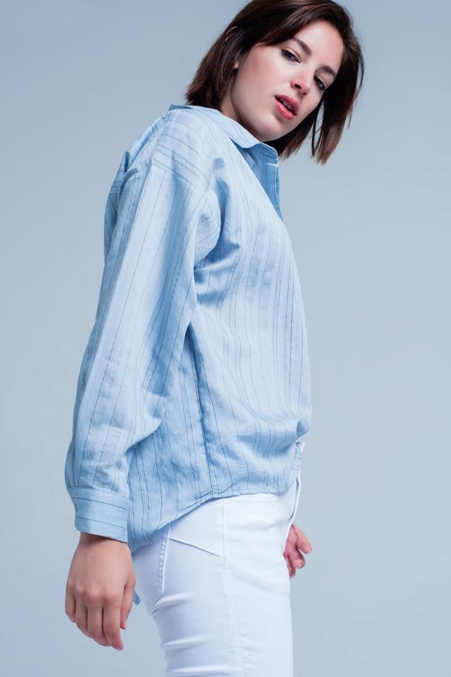 Blue Shirt Thin Black Stripes
