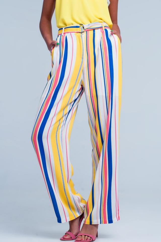Striped pants in mustard