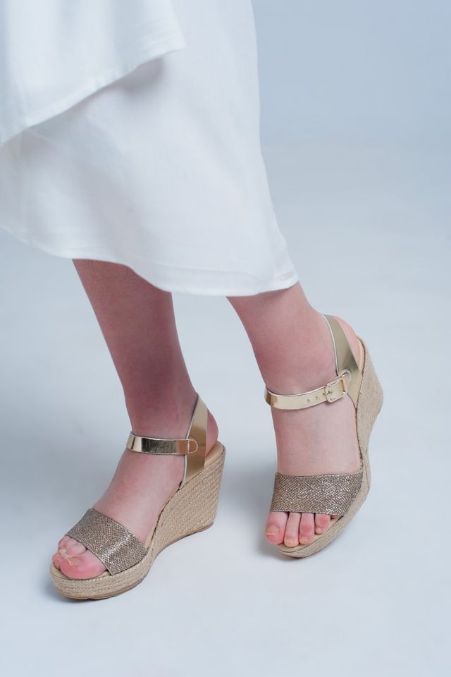 Metallic espadrille wedges