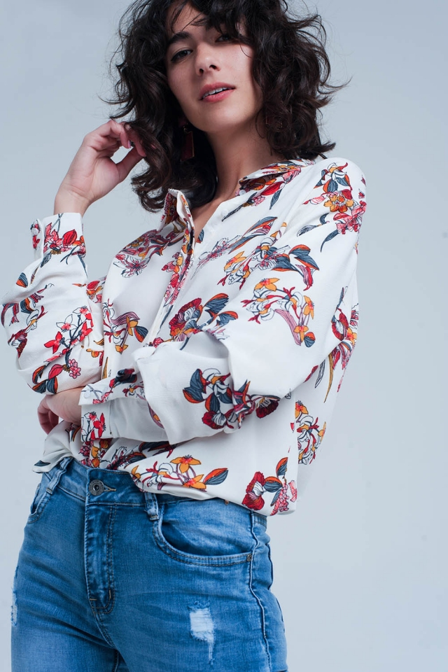 White shirt in floral print