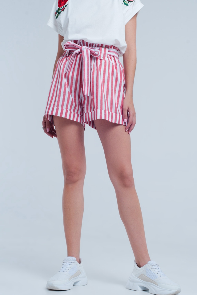 Red shorts with stripes and belt