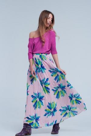 Maxi saia plissada rosa com flores imprimidas