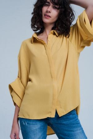 Camisa amarela oversize com detalhes lurex