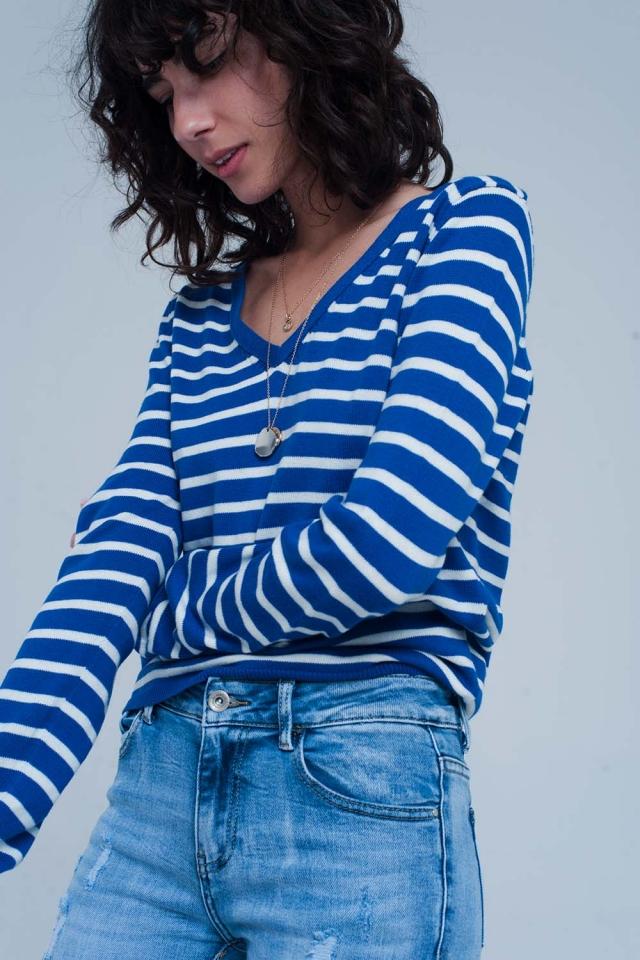 Camisola leve listrada azul
