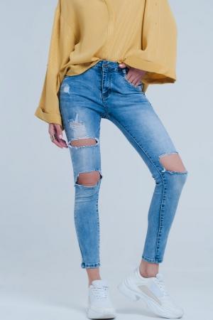 Calças de ganga leve jeans apertados