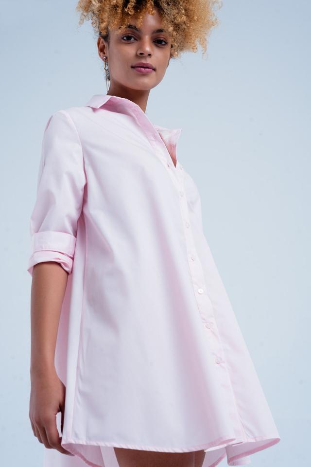 Vestido Camisa de popeline rosa longa