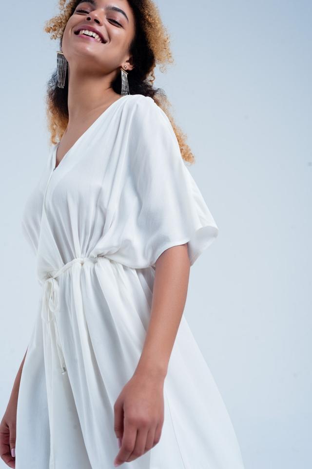 Vestido Midi com cintura atada em branco