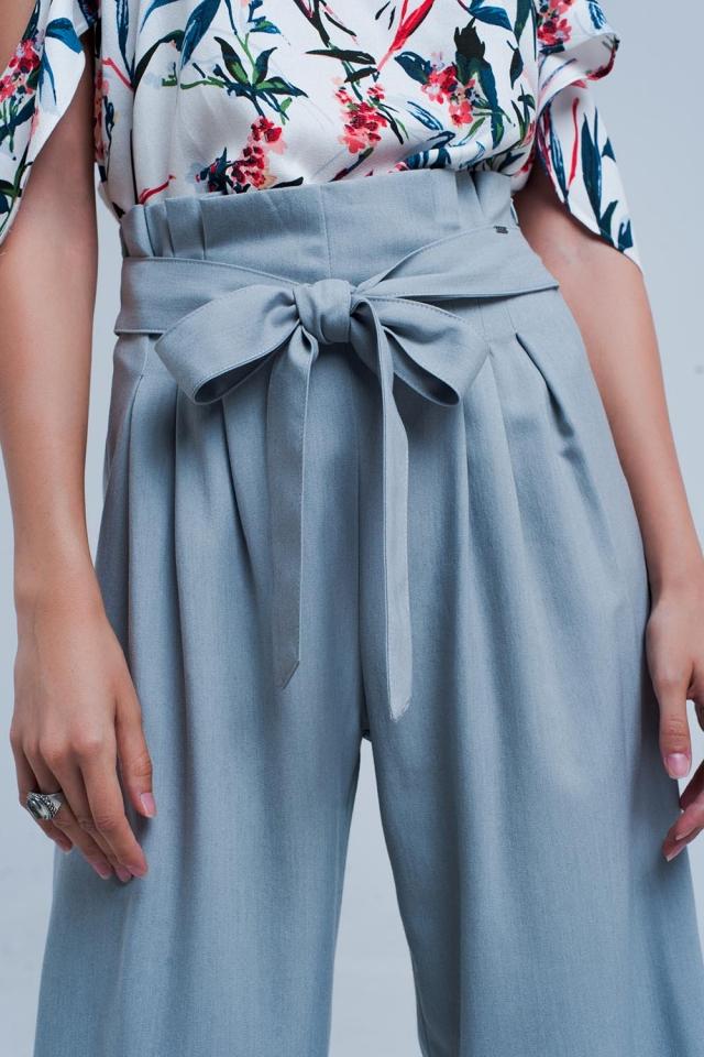 Calças de perna larga cinzento com detalhe plissado paperbag