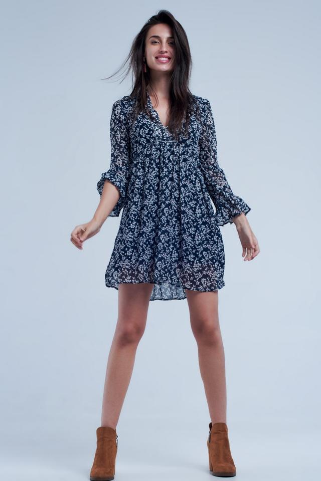 Vestido comprido azul marinho com mangas alargadas
