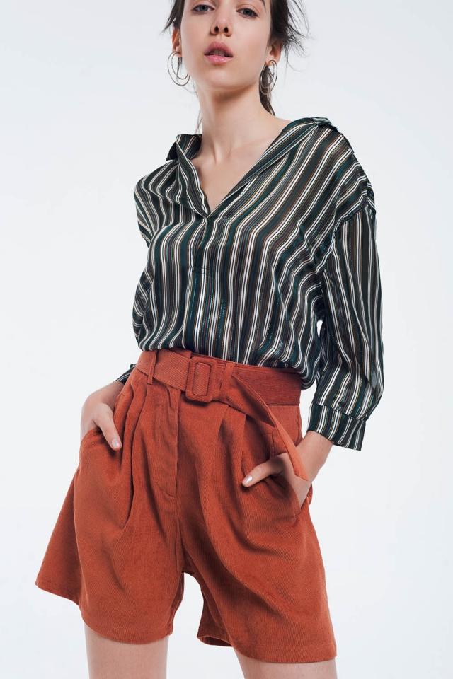 Blusa listrada verde com linhas brilhantes