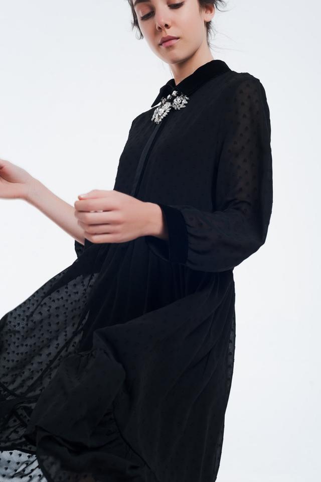 Vestido midi preto bimaterial