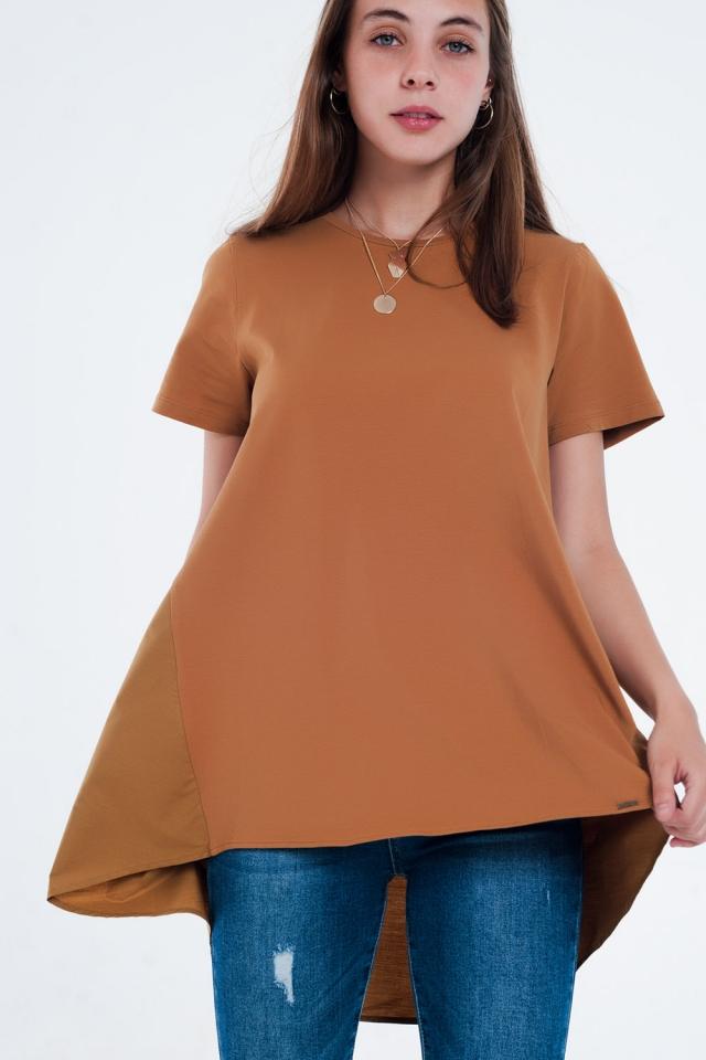 Vestido t-shirt em marrom