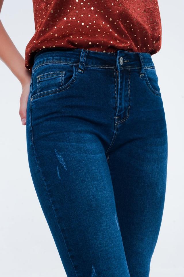 Calças de ganga de cintura alta com lavagem azul escuro