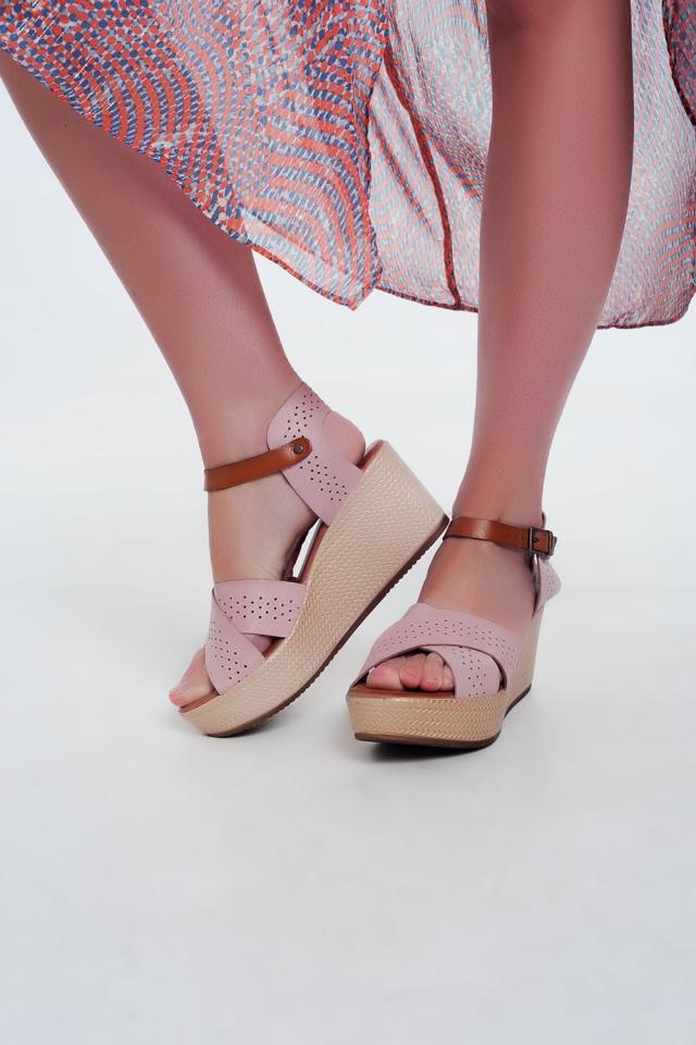 Sandálias estilo espadrille Cunha e couro rosa