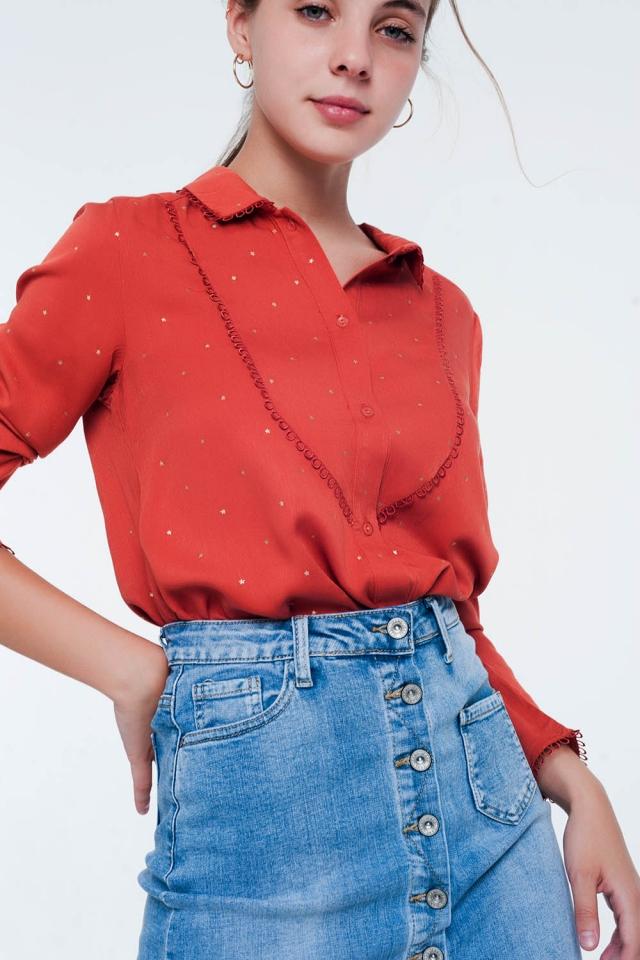 Blusa de manga comprida laranja chá com detalhe de gola
