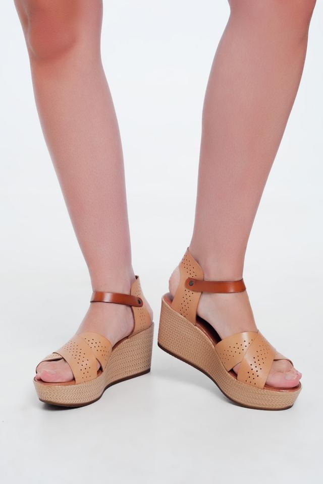 Sandálias estilo espadrille Cunha e couro bege