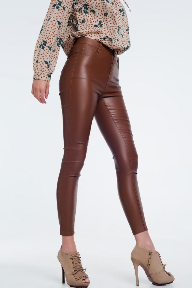 Calça skinny com cintura alta marrom