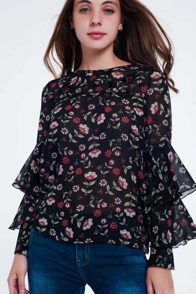 Blusa de manga comprida em camadas com estampa floral