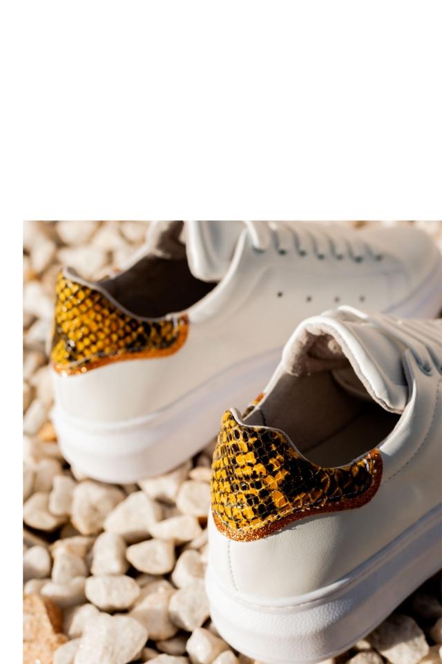 Sapatilhas de cordão amarelo python