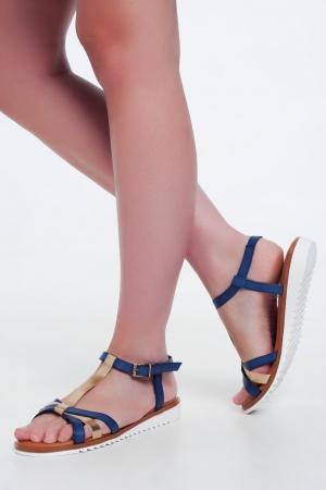 Sandálias de cunha de ouro e azul