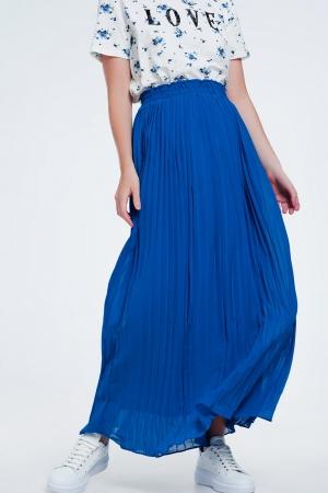 Saia longo plissada em azul