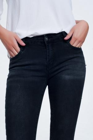 Calças de ganga skinny preto lavado
