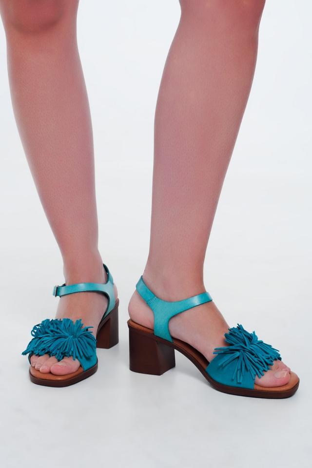 Sandálias de salto alto com babados em Turquesa